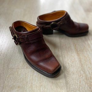Frye Belted Brown Leather Harness Mules